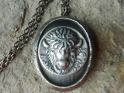 Buffalo Antiqued Silver Locket - Quality - Bison, American, Indian, Plains