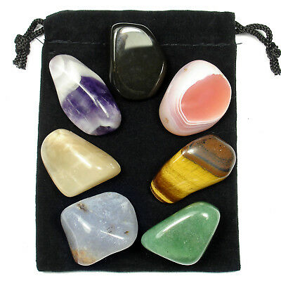 7 Stone CHAKRA HEALING Tumbled Crystal Set (C1) with 8 page Instruction Booklet