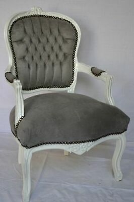 LOUIS XV ARM CHAIR FRENCH STYLE CHAIR VINTAGE FURNITURE grey white wood