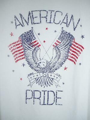New Patriotic Proud American White T-Shirt (American Pride) Eagle Flags