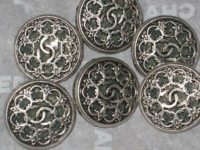 CHANEL 6  SILVER METAL CC LOGO FRONT sage green   BUTTON 12 MM  NEW LOT 6