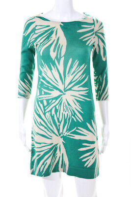 62585a508b Lilly Pulitzer Womens A-Line Knee Length Sweater Dress Green Ivory Wool  Size XS