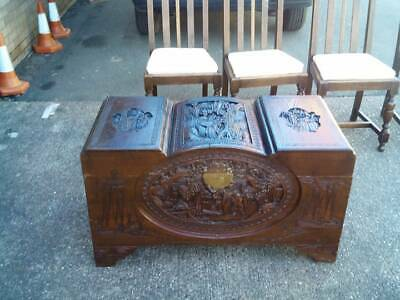 Vintage Chinese Carved Camphor Wooden Trunk