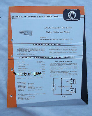 AWA Car Radio 934-A 935-A Techinal Information & Service Data Holden Ford Morris