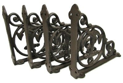 "Set of 4 Cast Iron Shelf Brackets New Antique-Style Rustic Anchor 9"" x 6.5"""