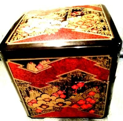 JAPANESE Vintage 3 tiered Jubako BLACK Box Black Lacquerware - Footed Square
