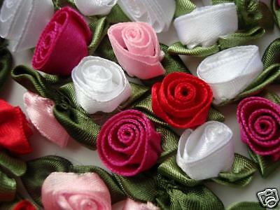 "70 Satin Ribbon Rose 1/"" Flower Leaves//trim//craft//sewing//dress//Bow F28-Pick Color"