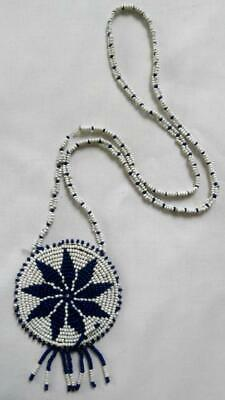 Retro 1970's Navy Blue & White Glass Bead Tribal Style African Pendant Necklace