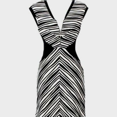 5cec3690abefe NWT BETSEY JOHNSON Black Ivory/White Textured Stripe Sexy Pencil Dress  Party 6/S
