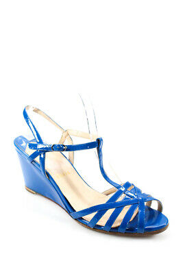 low priced 27d3d 98bbd CHRISTIAN LOUBOUTIN WOMENS Peep Toe Wedges Heels Blue Patent Leather 41 11