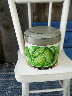 Sm. Antique Pantry Tin w 1920s French Seed Label Free Shipping