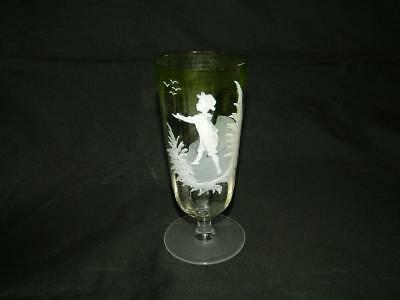 """Antique Optic Mary Gregory Hand Painted Boy Green Shaded Stem Glass 6"""" Free Ship"""