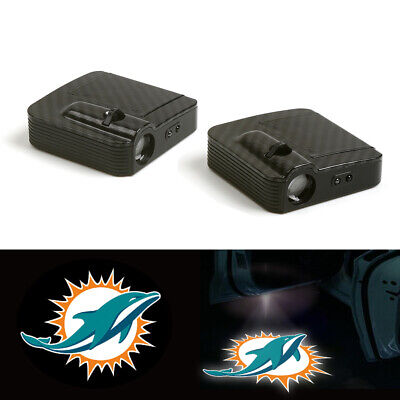 2X Miami Dolphins Logo Wireless Car Door Welcome Laser Projector Ghost Led Light