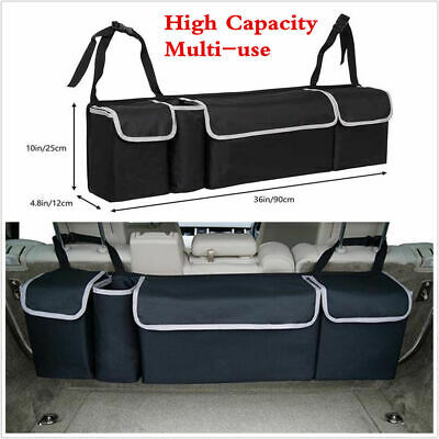 Black High Capacity Multi-use Car Seat Back Organizers Bag Interior Accessories