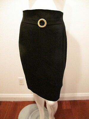 1fa90fcef5504a Celine Paris Pencil Black Skirt Gold Buckle Logo On Made In France Size 44