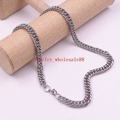 8''-30' Stainless steel 9mm curb chain  Necklace Bracelet Women Men's Jewelry