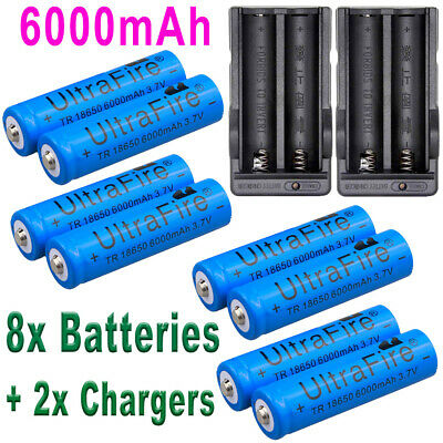 6000mAh Rechargeable 18650 Battery 3.7V Li-ion Batteries Cell Bat Dual Chargers
