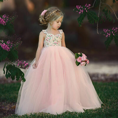 Princess Kids Flower Girl Dress Lace Tulle Dress Party Pageant Wedding Dresses