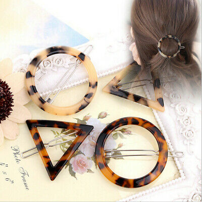 Fashion Women Acrylic Geometry Round Triangle Barrette Hairpin Hair Accessories