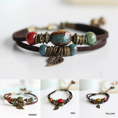 Boho Double Layer Rope Leather Leaf Beads Charm Bracelet Women Men Beach Jewelry