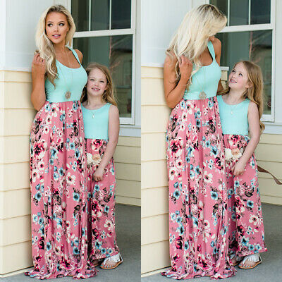 Family Clothes Mother Daughter Dresses Womens Girls Floral Long Maxi Tunic Dress