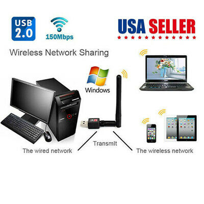 150M USB wireless wifi LAN Adapter 2dBi Antenna Long Range For Desktop Computer