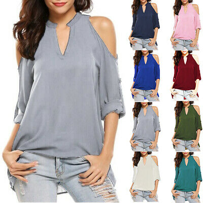 the latest 2e080 ef01b DAMEN SOMMER SCHULTERFREI Bluse Halbarm Locker Casual T-Shirt Oberteil  Tunika