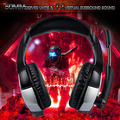 ONIKUMA K5 PRO Stereo Gaming Headset for PS4, PC, Xbox One Controller w/  Mic LED