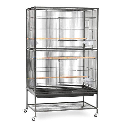 Bird Cage With Stand Parrot Aviary Pet Carrier Budgie Perch Castor Wheels Large