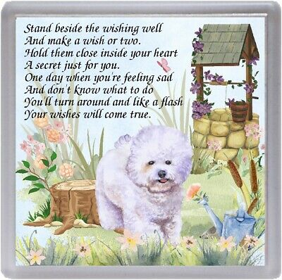 "Bichon Frise Dog Coaster ""WISHING WELL"" Poem ...."" by Starprint"