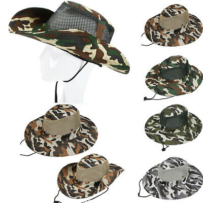 Mens Bucket Hat Boonie Hunting Fishing Outdoor Wide Brim Camouflage Sun Cap Hot