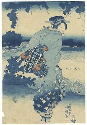 Original Japanese Woodblock Print, Kuniyoshi, Beauty, Blue Pigment, Ukiyo-e
