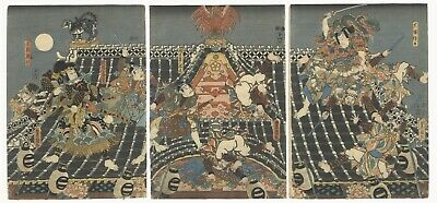 Original Japanese Woodblock Print, Toyokuni III, Hakkenden, Eight Dogs, Ukiyo-e