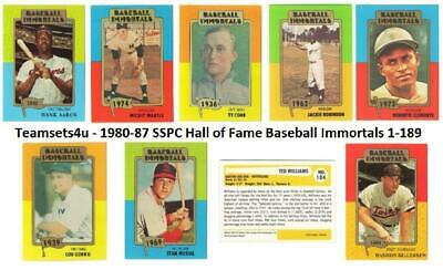 1980-87 SSPC Hall Of Fame Baseball Immortals 1-189 Set *Pick Team *See Checklist