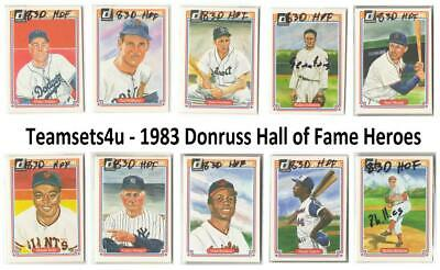 1983 Donruss Hall of Fame Heroes Baseball Set ** Pick Your Team **