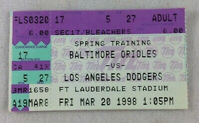 MLB 1998 03/20 Los Angeles Dodgers at Baltimore Orioles Spring Training Ticket