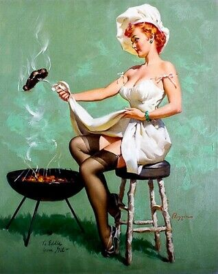 GIL ELVGREN 8x10 PINUP GIRL MATTE PRINT-Young Wife Neighbor BBQ Big Breasts