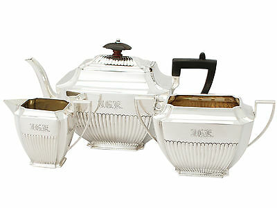 Antique Victorian Sterling Silver Three Piece Tea Set Atkin Brothers Sheffield