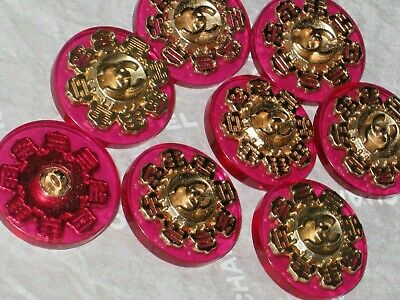 Chanel 8 Gold  Metal Cc Logo Front Pink Plastic Button  22 Mm /Around 1'' Lot 8