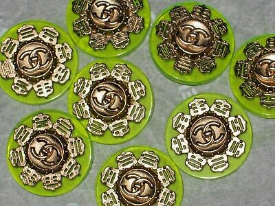 Chanel 8 Gold Metal Cc Logo Front Neon Lime  Buttons 20 Mm/Over 3/4'' New Lot 8