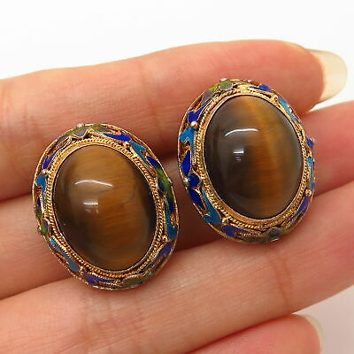 900 Silver Gold Plated Antique China Tiger Eye Gem & Enamel Floral Earrings