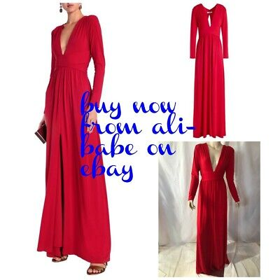 Halston Heritage Scarlet red long sleeve plunge jersey gown maxi dress L NWT