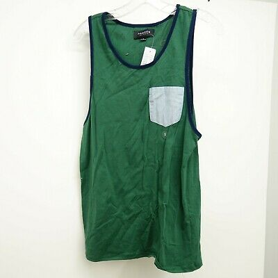 fd80e261b35 PacSun Size Small Mens LA Green Chambray Blue Green Pocket Athletic Tank  Top New