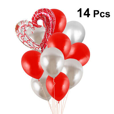14pcs Balloon Set Heart Shaped Foil Balloon Mix Colored Latex Balloons for Party