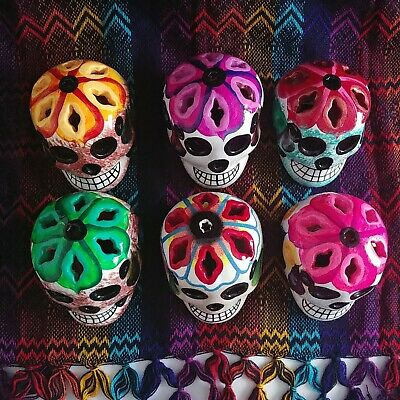6 Skull Collectibles Day Of The Dead/ dia de los muertos different colors