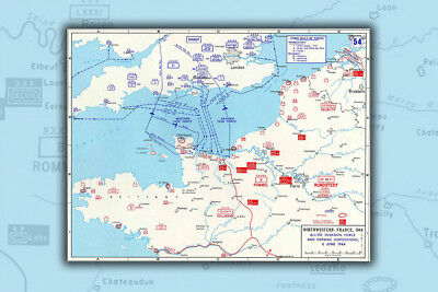 Poster, Many Sizes; D-Day Map Assault Routes Into Normandy. Operation Overlord
