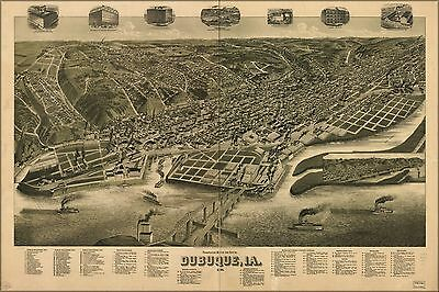 Poster, Many Sizes; Perspective Map Of Dubuque, Iowa 1889