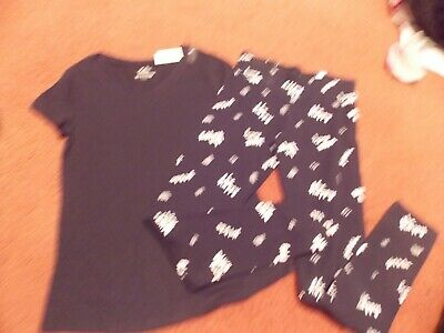 justice girls-size--14----2 piece top/legging set -black/white happy/dance --nwt