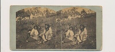 1870's Light Blue Stereo View Chippewa Indian Natives & Squaws Conklin Minnesota