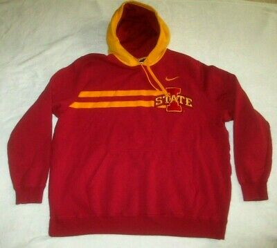 NIKE TEAM IOWA State Cyclones Pullover Hooded Sweatshirt Men's XL Red & Gold